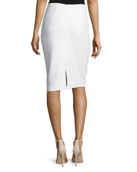 Clair Lace-Trim Knit Pencil Skirt, Bianco