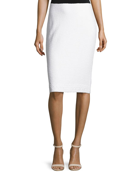 St. John Collection Clair Lace-Trim Knit Pencil Skirt,