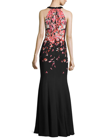 Degrade Floral Halter Mermaid Gown, Caviar/Multi