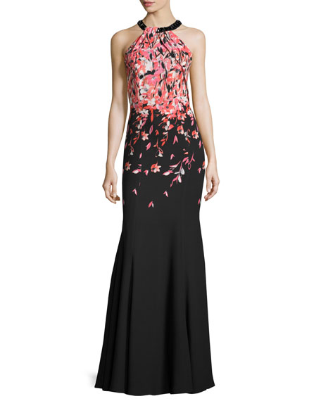 Degrade Floral Halter Mermaid Gown, Caviar/Multi