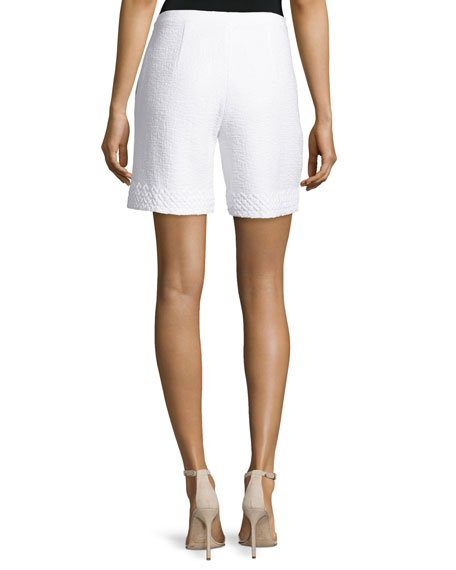 Clair Lace-Trim Knit Shorts, Bianco