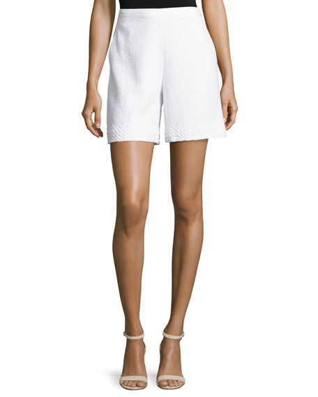 St. John Collection Clair Lace-Trim Knit Shorts, Bianco