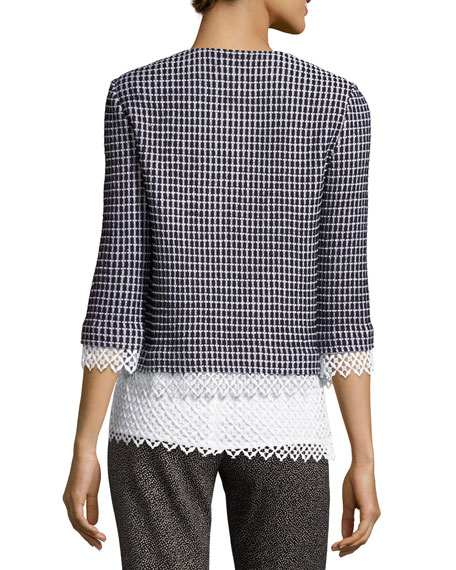 Lace-Trim Textural Grid Knit Jacket, Caviar/Bianco