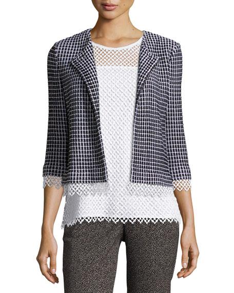 Lace-Trim Textural Grid Knit Jacket, Caviar/Bianco