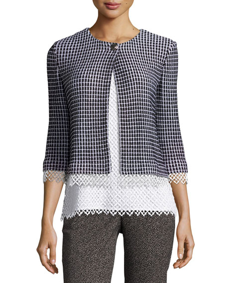 St. John Collection Lace-Trim Textural Grid Knit Jacket,
