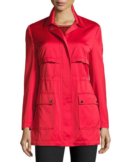 Drawstring Satin Outerwear Jacket, Hibiscus