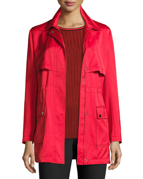 St. John Collection Drawstring Satin Outerwear Jacket, Hibiscus