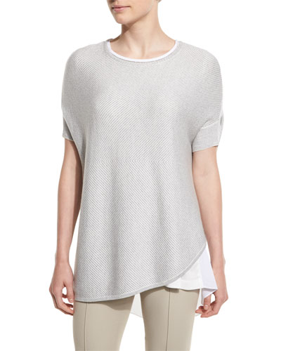 Chevron Knit Short-Sleeve Sweater, Oyster Melange
