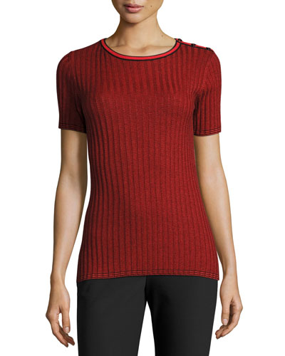 Ribbed Jewel-Neck Short-Sleeve Sweater, Caviar/Hibiscus