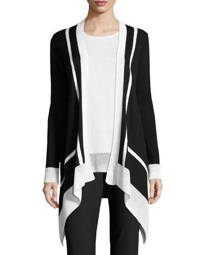 Intarsia-Stripe Waterfall Cardigan, Caviar/Bianco