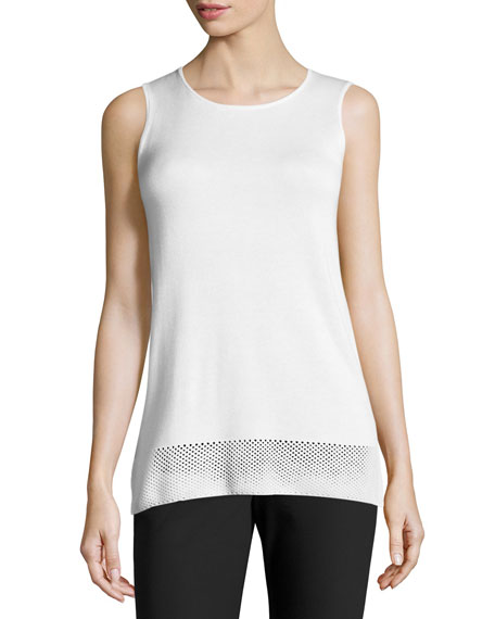 St. John Collection Colorblock Pointelle-Hem Tank, Bianco/Caviar