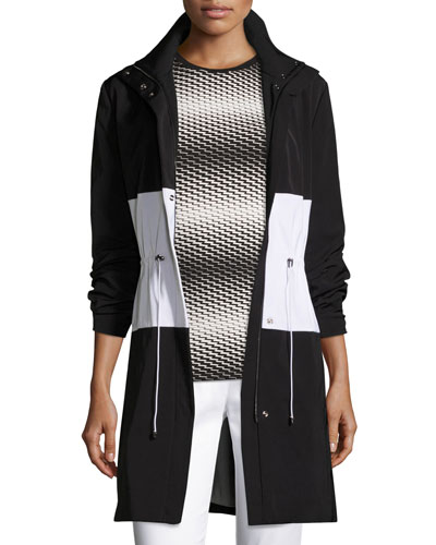Colorblock Drawstring Tech Jacket, Caviar/Bianco