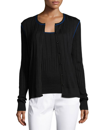 Engineered Rib-Knit Jewel-Neck Cardigan, Caviar/Azzurine
