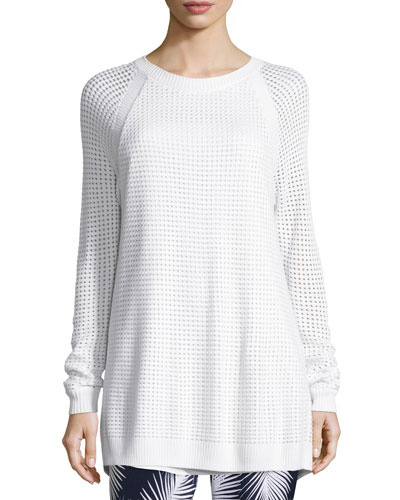 Openwork-Stitch Crewneck Raglan Sweater, Bianco