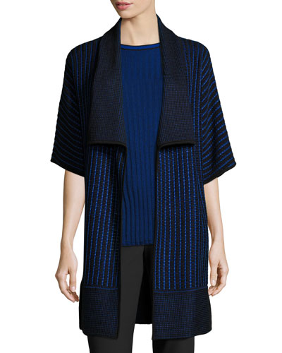 Inlay Knit Shawl-Collar Half-Sleeve Cardigan, Azzurine/Caviar