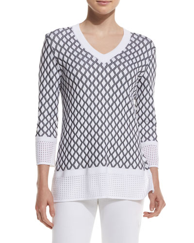 Pointelle-Knit V-Neck Sweater, Bianco/Caviar