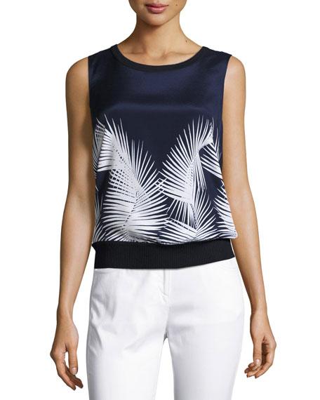 St. John Collection Palm-Print Ribbed-Trim Shell, Navy/Bianco