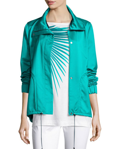 Satin Drawstring-Hem Funnel-Neck Jacket, Laguna