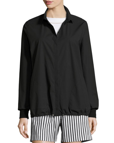 Techno Cotton Drawstring-Hem Blouse, Caviar