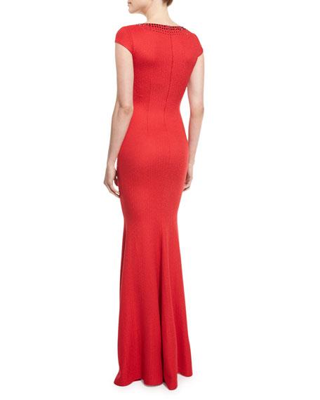 Rumba Knit Crystal-Trim Mermaid Gown, Hibiscus