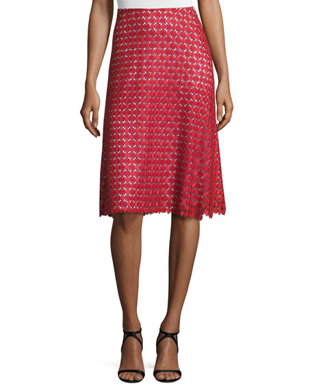 Guipure-Lace A-Line Skirt, Hibiscus/Multi