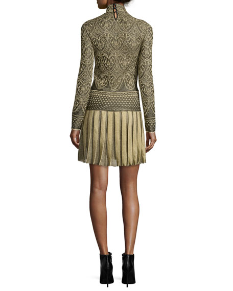 Long-Sleeve Plisse-Skirt Mini Dress, Gold