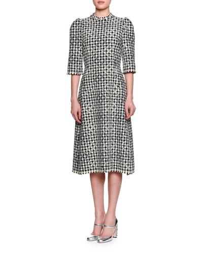 Half-Sleeve Houndstooth Polka-Dot Dress, Black/White/Silver