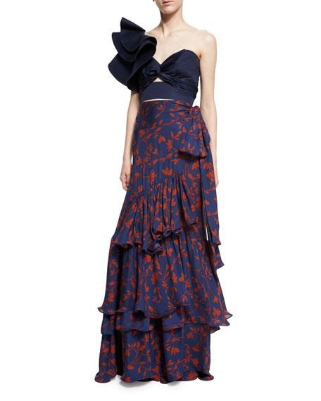 Johanna Ortiz Laeta Floral Tiered Maxi Skirt, Navy/Burgundy