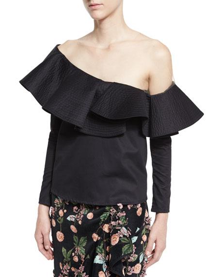 Lazarote Ruffled One-Shoulder Blouse, Black