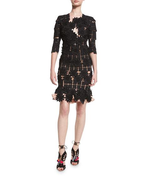 Manila Floral-Lace Half-Sleeve Dress, Black