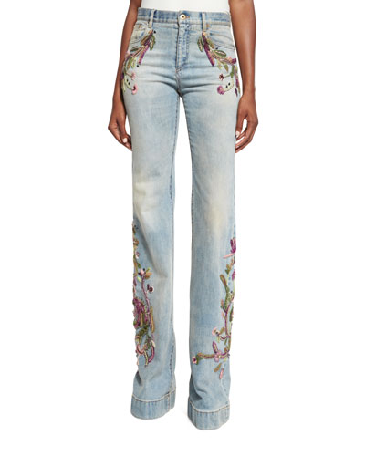Embroidered Flared Jeans, Denim
