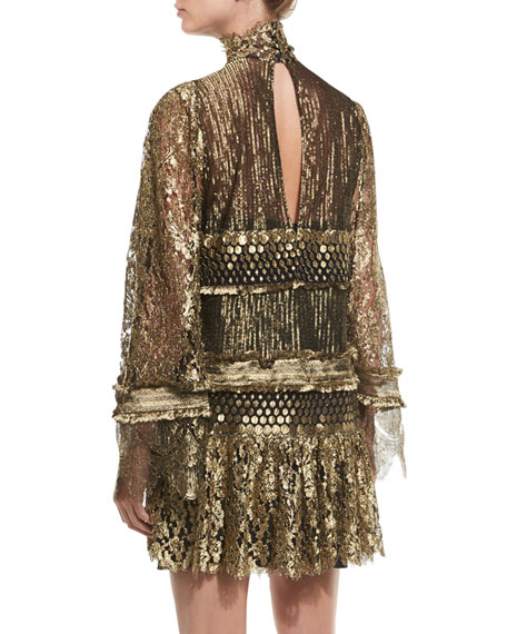 Tiered Lace Bell-Sleeve Mini Dress, Gold