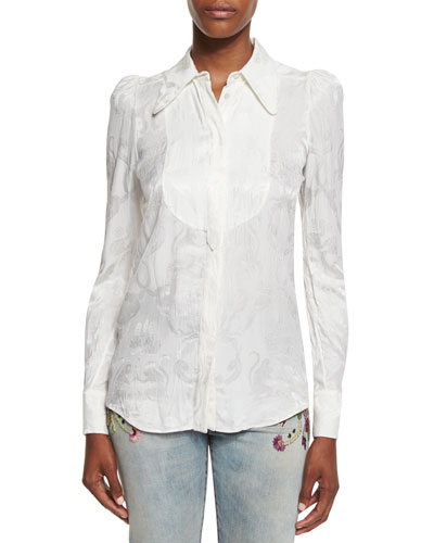 Bib-Detail Jacquard Blouse, White