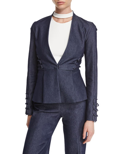 Lace-Up Trim Peplum Jacket, Denim