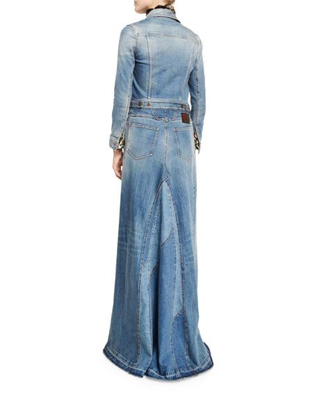 Long-Sleeve Maxi Jean Jacket, Denim