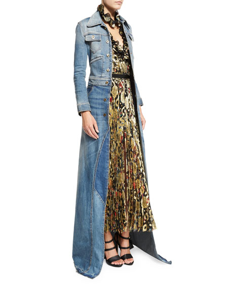 Roberto Cavalli Long Sleeve Maxi Jean Jacket Denim
