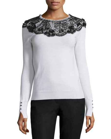 Long-Sleeve Lace-Collar Knit Sweater, Black/White
