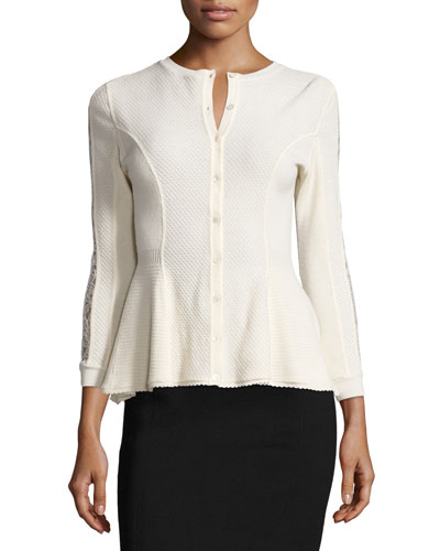 Lace-Sleeve Peplum Cardigan, Vanilla Top Reviews