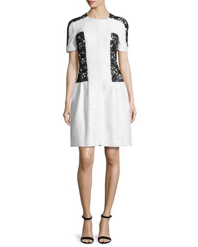 Short-Sleeve Lace-Inset Dress, White/Black