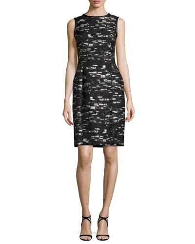 Geometric-Jacquard Sleeveless Sheath Dress, Black