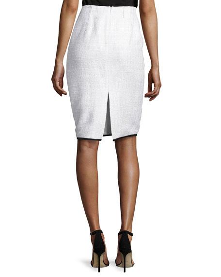 Contrast-Trim Tweed Pencil Skirt, White/Black