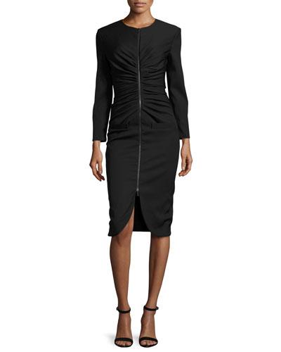 Long-Sleeve Zip-Front Dress, Black