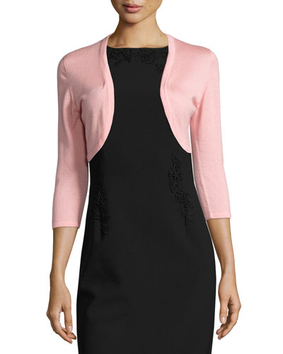 3/4-Sleeve Open-Front Bolero Cardigan, Peach