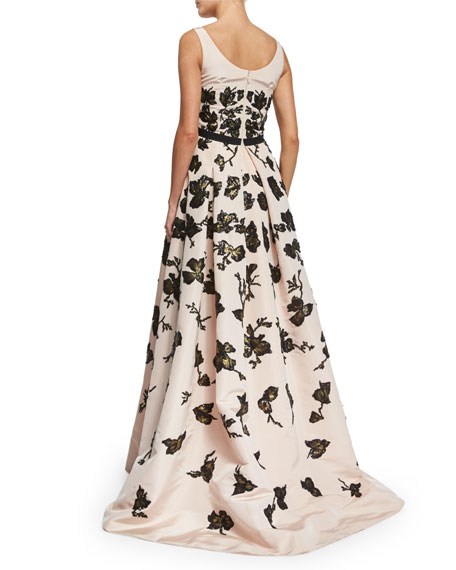 Sleeveless Painted Sequin Silk Faille Gown, Rose