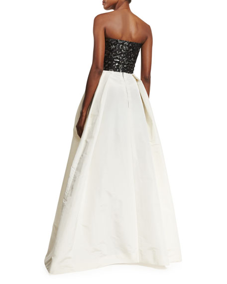 Strapless Beaded-Bodice Ball Gown, Black/White