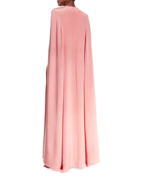 Lace-Front Caftan Gown, Peach/Black