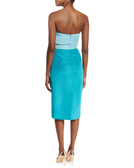 Colorblock Strapless Sweetheart-Neck Midi Dress, Celeste