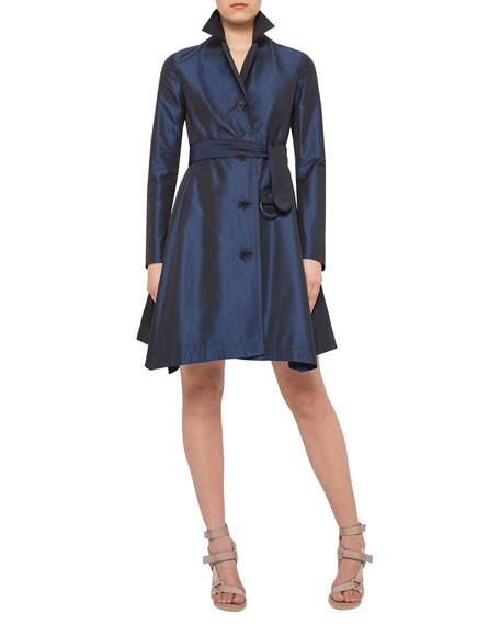 Belted A-Line Trenchcoat Dress, Navy