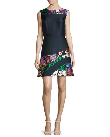 Oscar de la Renta Patchwork Sleeveless A-Line Dress, Navy/Multi ...