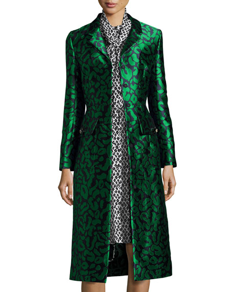 Oscar de la Renta Leopard Jacquard A-Line Coat,
